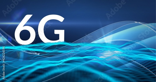 Composition of the word 6g over blue waves and shapes in background