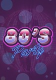 80's party written in shiny numbers and blue letters on invite with purple background