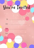 You're invited written in black with colourful circles, invite with details space on pink background