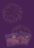Composition of two drinks making toast with fireworks on purple background