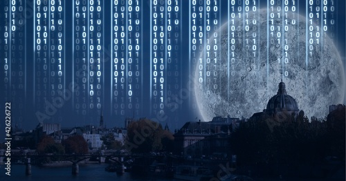 Composition of digital interface over a cityscape with a full moon in background
