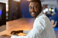 Portrait Of Happy Casual African American Businessman Wearing Phone Headset And Looking To Camera