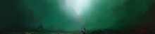 Deep Sea Bottom Background, Digital Painting, 3D Illustration.