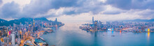 Epic Aerial View Of Night Scene Of Victoria Harbour, Hong Kong, In Golden Hour