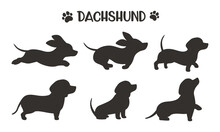 Dachshund Dog Silhouettes Running In Various Poses Ideas For Dog Lovers