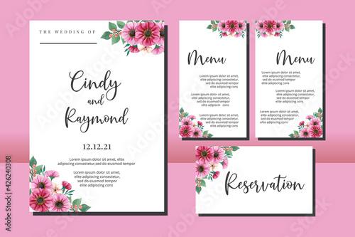 Canvas Print Floral Frame Wedding invitation, floral watercolor hand drawn Zinnia Flower desi