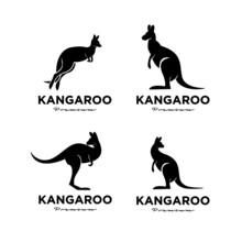 Set Collection Kangaroo Wallaby Logo Vector Icon Premium Illustration