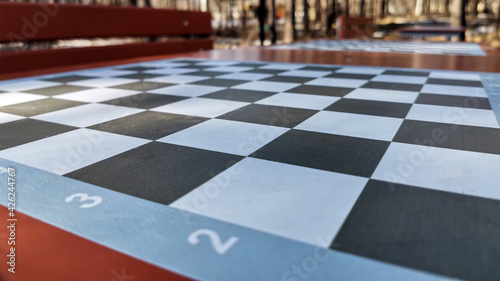 Vászonkép table for playing chess in a city park, close-up