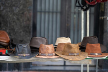 Leather Cowboy Hats For Sale At A Market In San Telmo, Argentina