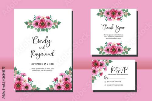 Floral Frame Wedding invitation, floral watercolor hand drawn Zinnia Flower desi Wallpaper Mural
