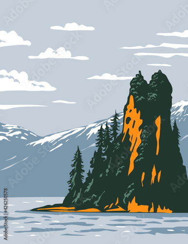 WPA Poster Art of the New Eddystone Rock located in Misty Fjords National Monument part of the Tongass National Forest in Ketchikan, Alaska done in works project administration style.