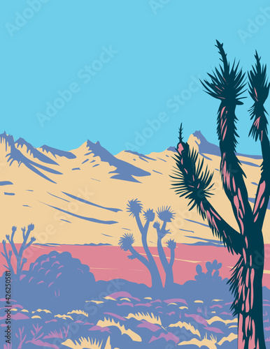 WPA Poster Art of the Castle Mountains range and Joshua tree in the Mojave Desert within Castle Mountains National Monument San Bernardino County California done in works project administration style.