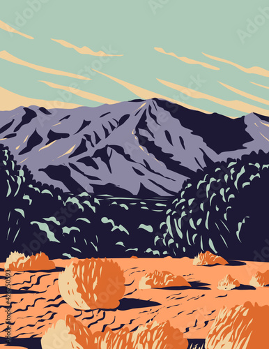 WPA Poster Art of the dramatic desert and sand dunes of Mojave Trails National Monument surrounding the Mojave National Preserve located in California done in works project administration style.