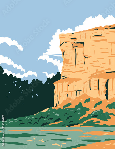 WPA Poster Art of Pompeys Pillar National Monument a sandstone pillar and rock formation located in south central Montana, United States done in works project administration style.