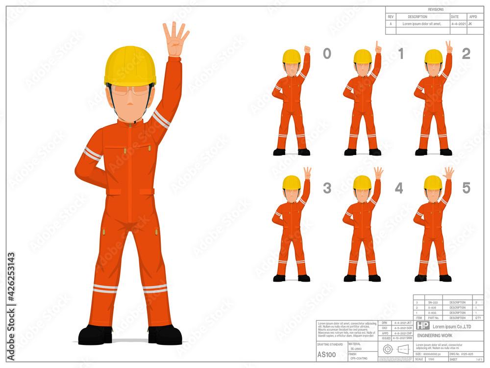 Fototapeta Set of industrial worker raise hand 0-5 on white background