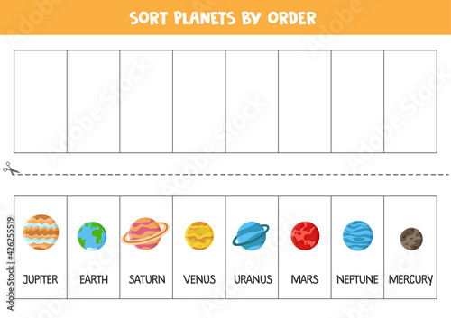 Fotografie, Obraz Sort Solar system planets by order. Space worksheet for children.