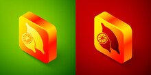 Isometric Lemon Icon Isolated On Green And Red Background. Square Button. Vector
