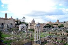 View To The Roman Forum - Temple Of Castor And Pollux (Il Tempio Dei Dioscuri), Septimius Severus Arch, Curia Julia, Saint Luca And Martina Church, Senatorial Palace Capitoline Hill - Rome, Italy