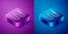 Isometric Fire Hose Reel Icon Isolated On Blue And Purple Background. Square Button. Vector