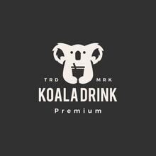Koala Drink Hipster Vintage Logo Vector Icon Illustration
