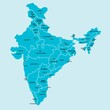 Doodle freehand drawing India political map with major cities. Vector illustration.