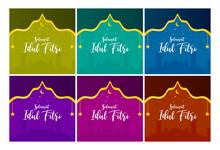 Set Of Islamic Background, Happy Eid Mubarak, Ramadan Theme In 6 Color Variation, Green, Tosca, Blue, Purple, Maroon