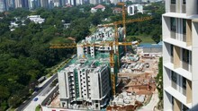 4k Ultra HD Time Lapse Of Cranes At A Housing Construction Site Singapore