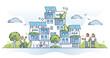 Autonomous building as house with solar panel electricity outline concept