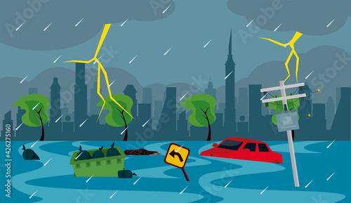 Fotografija city buildings flood