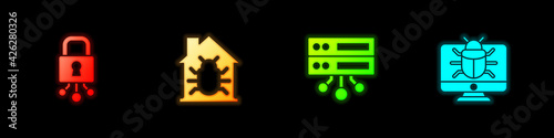 Fotografie, Obraz Set Cyber security, House system bug, Server, Data, Web Hosting and System on monitor icon