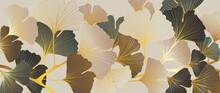 Luxury Gold Ginkgo Line Art Background Vector. Abstract Art Design Wallpaper.