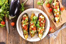 Baked Aubergine With Tomato And Mozzarella