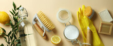 Cleaning Concept With Eco Friendly Cleaning Tools And Lemons On Beige Background