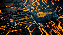 Security Technology Concept With Key Symbol On A Microchip. Orange Neon Data Flows Between The CPU And The User Across A Futuristic Motherboard. 3D Render.