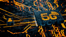 Wireless Technology Concept With 5G Symbol On A Microchip. Orange Neon Data Flows Between The CPU And The User Across A Futuristic Motherboard. 3D Render.