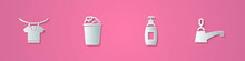 Set Paper Cut Drying Clothes, Bucket With Soap Suds, Bottle Of Liquid And Water Tap Icon. Paper Art Style. Vector