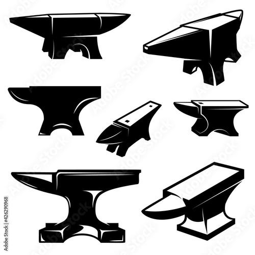 Photo Set of illustrations of blacksmith anvil