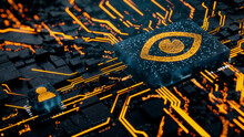 Vision Technology Concept With Eye Symbol On A Microchip. Orange Neon Data Flows Between The CPU And The User Across A Futuristic Motherboard. 3D Render.