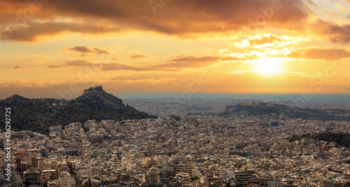 Athens, Greece, Cityscape, Acropolis and Lycabettus hill at sunset