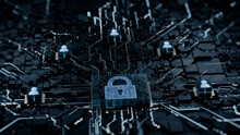 Security Technology Concept With Lock Symbol On A Microchip. White Neon Data Flows Between Users And The CPU Across A Futuristic Motherboard. 3D Render.