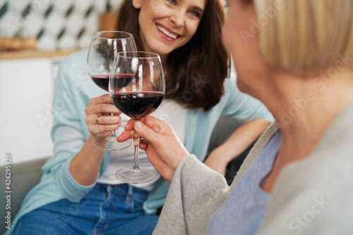 Fotomural Close up of mother and adult daughter toasting in wine