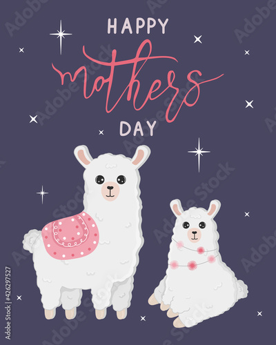Fototapeta premium Vector cartoon card. Happy mother's day with llama family on blue background. Cute alpaca