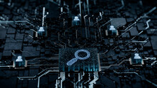 Search Technology Concept With Magnifier Symbol On A Microchip. White Neon Data Flows Between Users And The CPU Across A Futuristic Motherboard. 3D Render.