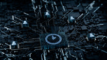 Time Technology Concept With Clock Symbol On A Microchip. White Neon Data Flows Between Users And The CPU Across A Futuristic Motherboard. 3D Render.