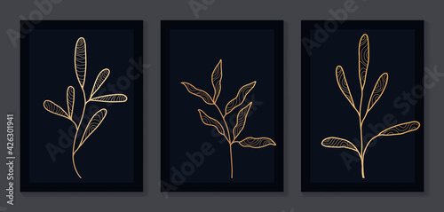 Obraz Abstract art nature background vector. Modern shape line art wallpaper. black and gold Boho foliage botanical leaves watercolor texture design for home deco, wall art. - fototapety do salonu