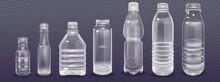 Plastic Bottles Set. Empty Realistic Plastic Bottle. Vector Illustration Of A 3d Transparent Bottle With A Blank Sticker.
