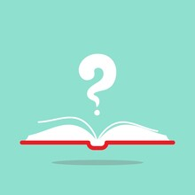 Open Book With Red Book Cover And White Question Mark Flying Out. Isolated On Turquoise Background.