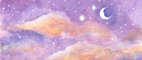 Watercolor painting of Moon and clouds background with soft pastel color. Fantasy magical night sky pastel background with colorful cloudy sky.