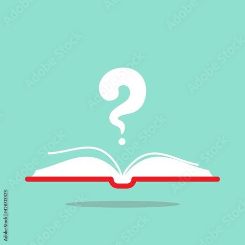 Obraz na plátně Open book with red book cover and white question mark flying out