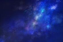 満天の星空の風景イラスト(ブルー)